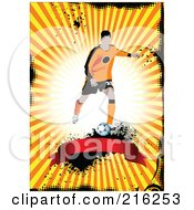 Royalty Free RF Clipart Illustration Of A Soccer Player Above A Blank Banner On A Grungy Orange Ray Background