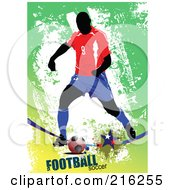 Royalty Free RF Clipart Illustration Of A Soccer Player On A Grungy Green Background With Football Soccer Text 2