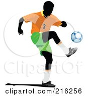 Royalty Free RF Clipart Illustration Of A Faceless Soccer Football Player 3