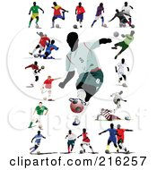 Royalty Free RF Clipart Illustration Of A Digital Collage Of Active Soccer Players 2