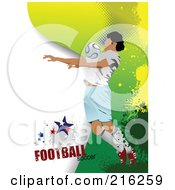 Royalty Free RF Clipart Illustration Of A Soccer Player On A Grungy Green White And Yellow Background With Football Soccer Text 1