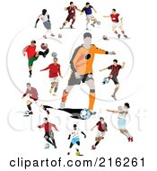 Royalty Free RF Clipart Illustration Of A Digital Collage Of Active Soccer Players 1