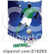 Royalty Free RF Clipart Illustration Of A Soccer Player On A Grungy Blue Halftone Background With Football Soccer Text 4