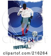 Royalty Free RF Clipart Illustration Of A Soccer Player On A Grungy Blue Halftone Background With Football Soccer Text 2