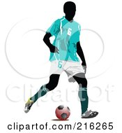Royalty Free RF Clipart Illustration Of A Faceless Soccer Football Player 4