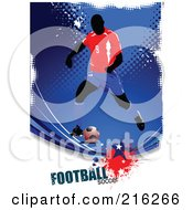 Royalty Free RF Clipart Illustration Of A Soccer Player On A Grungy Blue Halftone Background With Football Soccer Text 6