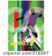 Royalty Free RF Clipart Illustration Of A Soccer Player On A Grungy Green Halftone Background With Football Soccer Text 1 by leonid