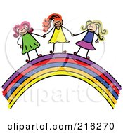 Royalty Free RF Clipart Illustration Of A Childs Sketch Of Girls Holding Hands On A Rainbow by Prawny