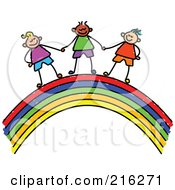 Royalty Free RF Clipart Illustration Of A Childs Sketch Of Boys Holding Hands On A Rainbow by Prawny