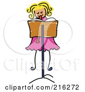 Royalty Free RF Clipart Illustration Of A Childs Sketch Of A Girl Playing A Recorder
