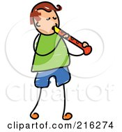 Royalty Free RF Clipart Illustration Of A Childs Sketch Of A Boy Playing A Recorder