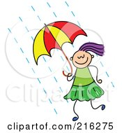 Royalty Free RF Clipart Illustration Of A Childs Sketch Of A Girl Using An Umbrella by Prawny