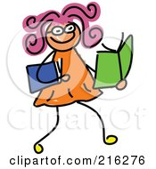 Royalty Free RF Clipart Illustration Of A Childs Sketch Of A Girl Reading Books by Prawny