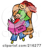 Royalty Free RF Clipart Illustration Of A Childs Sketch Of A Mom And Son Reading A Book by Prawny