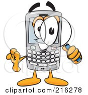 Royalty Free RF Clipart Illustration Of A Modern Smart Phone Character Using A Magnifying Glass