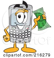 Royalty Free RF Clipart Illustration Of A Modern Smart Phone Character Holding A Bank Note by Toons4Biz