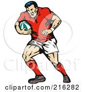 Royalty Free RF Clipart Illustration Of A Rugby Football Player 49