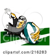 Royalty Free RF Clipart Illustration Of A Rugby Football Player 67