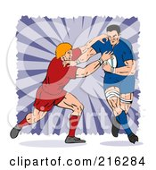 Royalty Free RF Clipart Illustration Of Rugby Football Players In Action 2