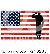 Royalty Free RF Clipart Illustration Of A Silhouetted Soldier And American Flag 2