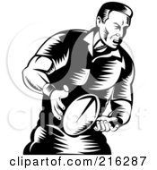 Royalty Free RF Clipart Illustration Of A Rugby Football Player 45