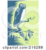 Royalty Free RF Clipart Illustration Of A Perched Owl 1 by patrimonio