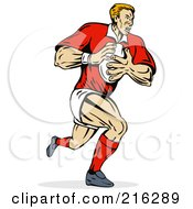 Royalty Free RF Clipart Illustration Of A Rugby Football Player 2