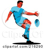 Royalty Free RF Clipart Illustration Of A Rugby Football Player 56