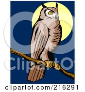Royalty Free RF Clipart Illustration Of A Perched Owl 3 by patrimonio