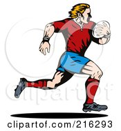 Royalty Free RF Clipart Illustration Of A Rugby Football Player 70