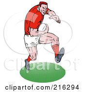 Royalty Free RF Clipart Illustration Of A Rugby Football Player 52