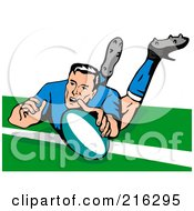 Royalty Free RF Clipart Illustration Of A Rugby Football Player 50