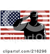 Royalty Free RF Clipart Illustration Of A Silhouetted Soldier And American Flag 3