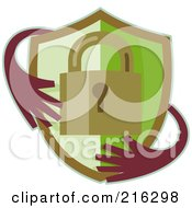 Royalty Free RF Clipart Illustration Of A Retro Padlock Shield With Hands Logo by patrimonio