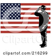 Royalty Free RF Clipart Illustration Of A Silhouetted Soldier And American Flag 1