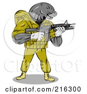 Royalty Free RF Clipart Illustration Of A Military Seal Holding A Gun