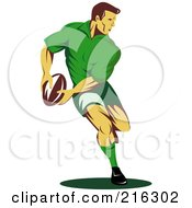 Royalty Free RF Clipart Illustration Of A Rugby Football Player 59