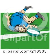 Royalty Free RF Clipart Illustration Of A Rugby Football Player 11