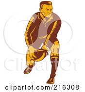 Royalty Free RF Clipart Illustration Of A Rugby Football Player 43