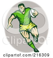 Royalty Free RF Clipart Illustration Of A Running Retro Rugby Football Player On A Gray Oval