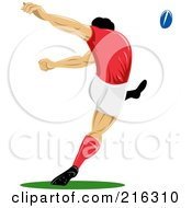 Royalty Free RF Clipart Illustration Of A Rugby Football Player 57