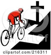 Royalty Free RF Clipart Illustration Of A Retro Cyclist Riding Towards A Cross