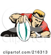 Royalty Free RF Clipart Illustration Of A Rugby Football Player 7