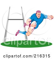 Royalty Free RF Clipart Illustration Of A Rugby Football Player 9