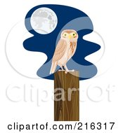 Royalty Free RF Clipart Illustration Of A Perched Owl 2 by patrimonio