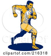 Royalty Free RF Clipart Illustration Of A Rugby Football Player 31