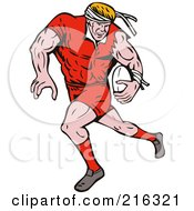 Royalty Free RF Clipart Illustration Of A Rugby Football Player 4