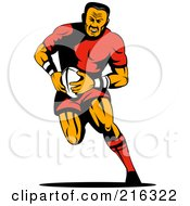 Royalty Free RF Clipart Illustration Of A Rugby Football Player 20