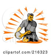 Royalty Free RF Clipart Illustration Of A Rugby Football Player 42