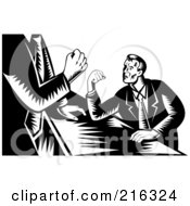 Royalty Free RF Clipart Illustration Of Retro Black And White Businessmen Arm Wrestling